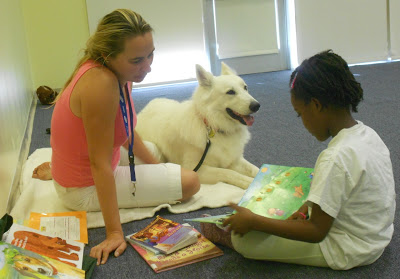 """Read to a Dog,"" in a local library with Ice Therapy Dog"